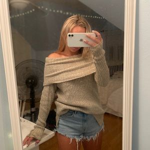 """Off the shoulder """"cloth"""" Sweater"""